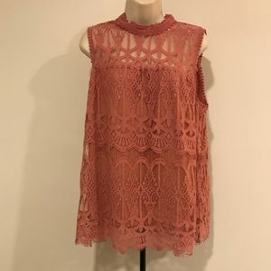 NWOT Dusty rose high neck lace sleeveless top